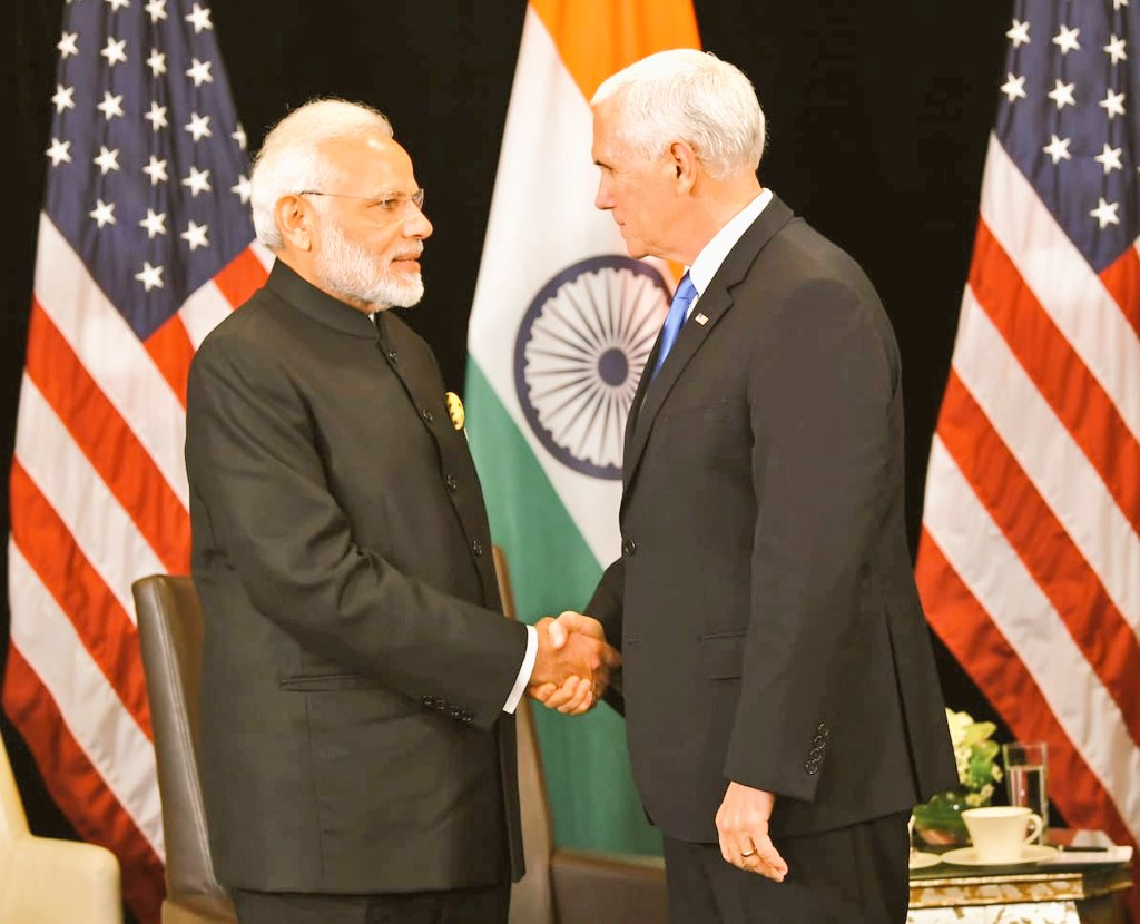 Indian Prime Minister Narendra Modi meeting US Vice President Mike Pence in Singapore on the sidelines of East Asia Summit. Photo courtesy: Twitter@/MEAIndia
