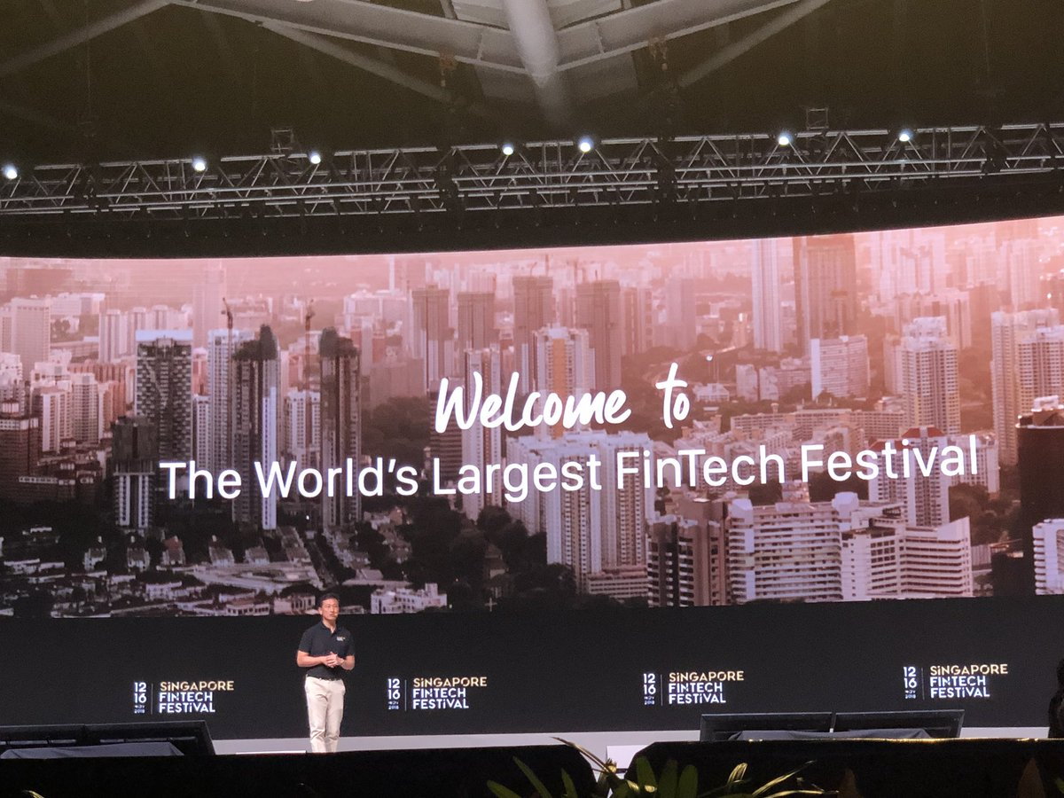Ong Ye Kung welcoming delegates at the Singapore Fintech Festival. Photo courtesy: Twitter/@sgFinTechFest