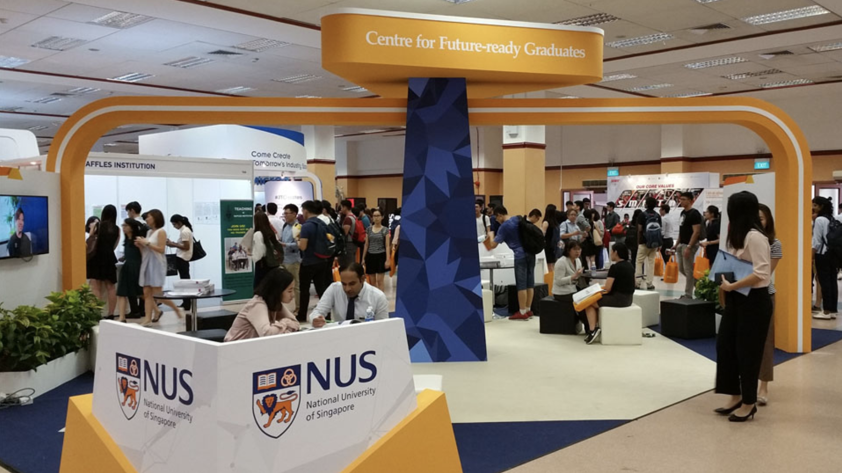 NUS graduates are now among the top 10 most employable in the world. The university regularly holds career fairs and events where NUS students and alumni could interact with potential employers and seek job opportunities. Photo courtesy: NUS