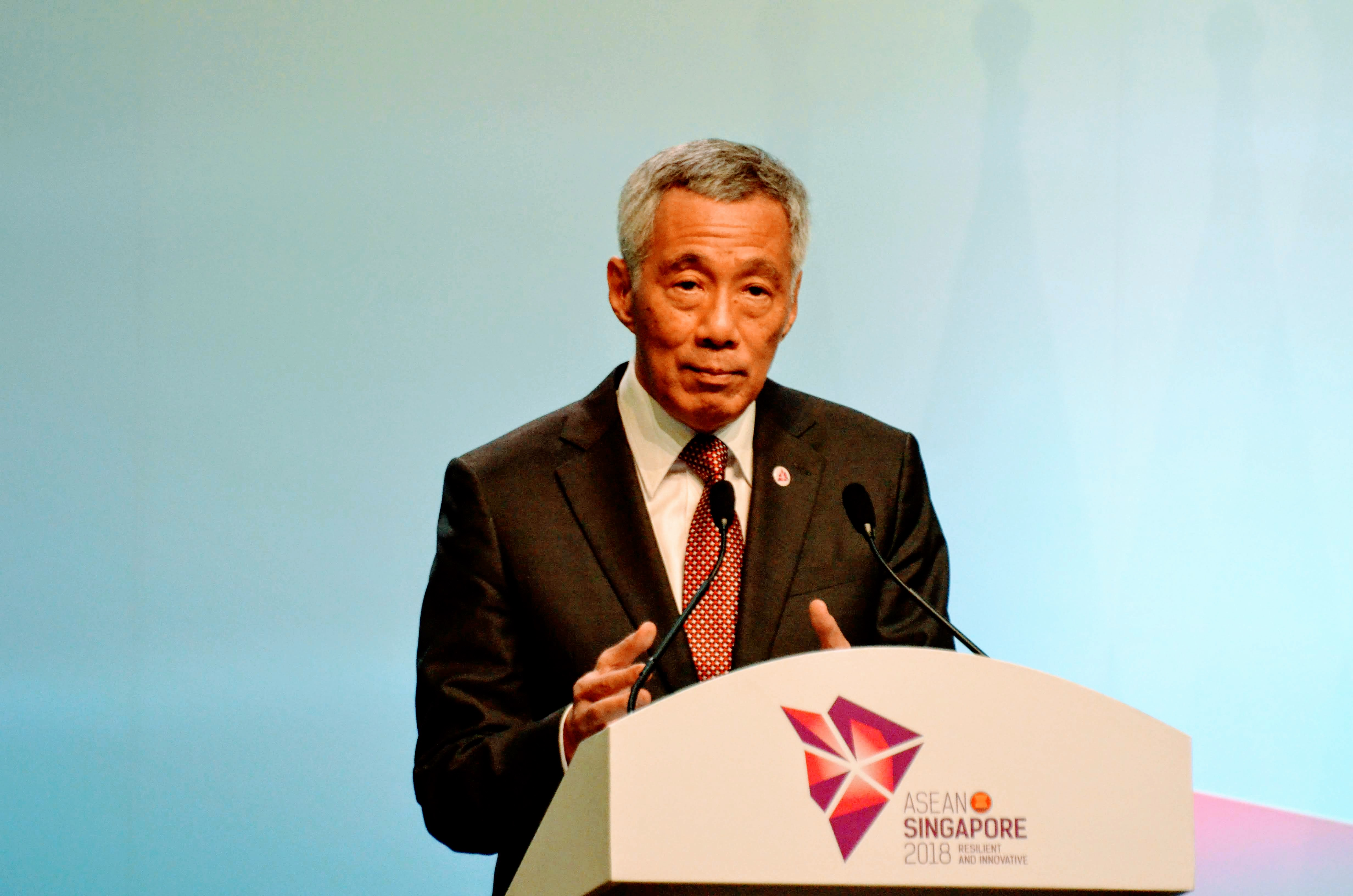 Prime Minister of Singapore Lee Hsien Loong speaking at the press conference after the conclusion of 33rd ASEAN Summit. Photo: Connected to India