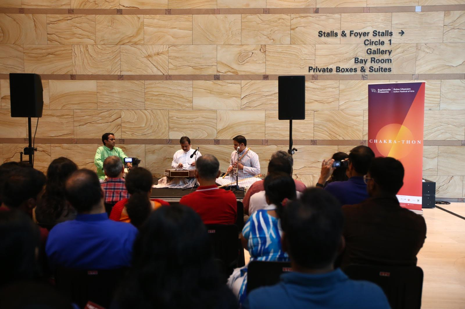 Curated by National Arts Council Young Artist Award-winner Nawaz Mirajkar, Chakra-thon is a series of raga concerts that run from morning to dusk, at Esplanade's performance venues as well as at different nooks and crannies of the centre. Photo courtesy: Esplanade