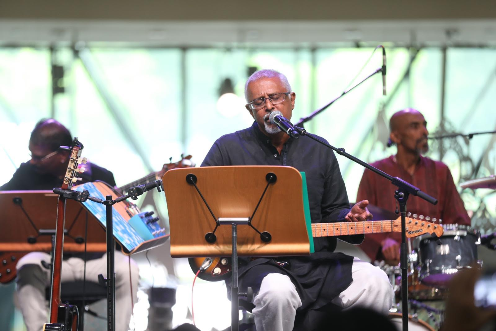 Singapore's fusion Indian band Mohamed Raffee and the Vasantham Boys took the audience on a trip down memory lane with evergreen Hindi movie songs from the 60s through to the 90s. Photo courtesy: Esplanade