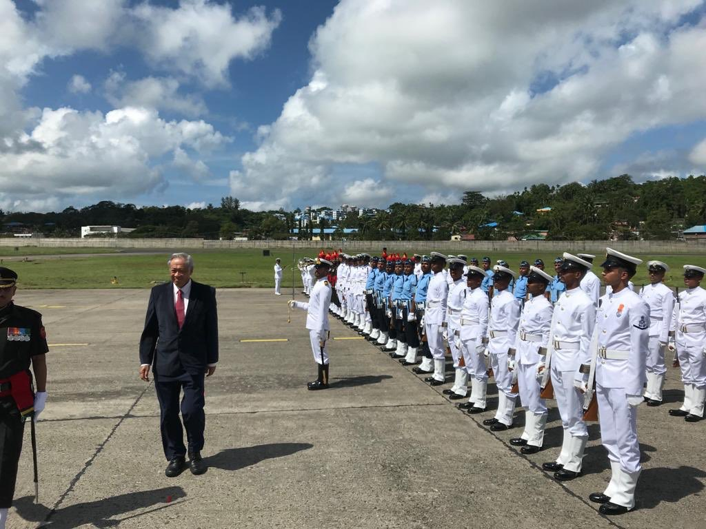 A guard of honour on arrival of Singapore's Defence Minister Dr Ng Eng Hen at Andaman and Nicobar Triservices Command (Photo courtesy: Indian High Commission, Singapore