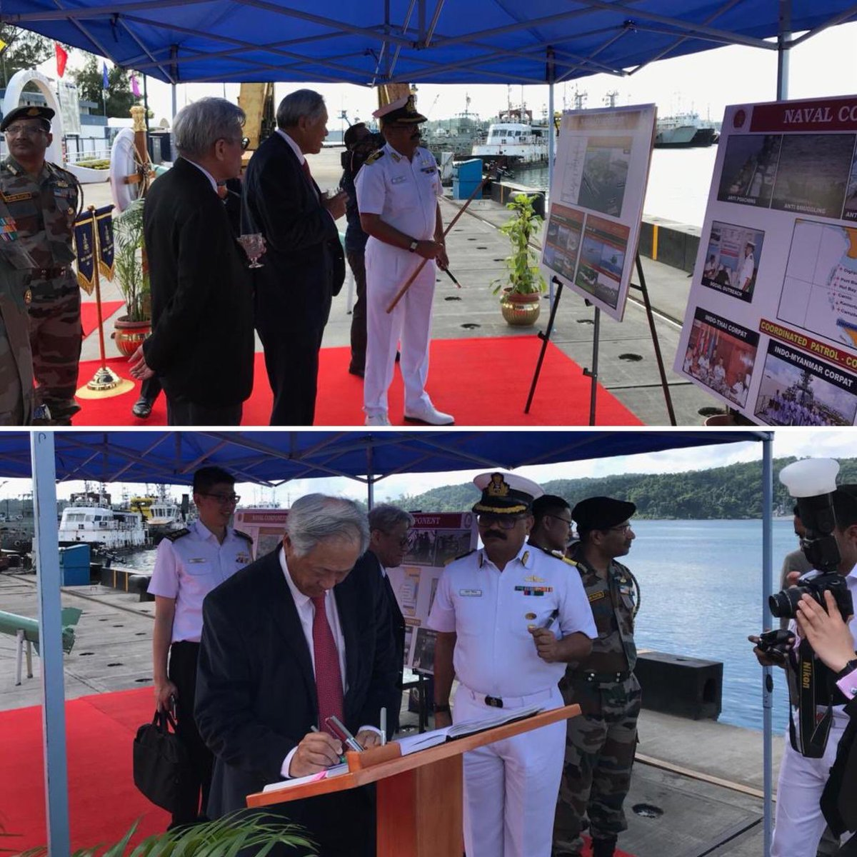 Singapore's Defence Minister Dr Ng Eng Hen signing Visitor's Book  at Andaman and Nicobar Triservices Command (Photo courtesy: Indian High Commission, Singapore