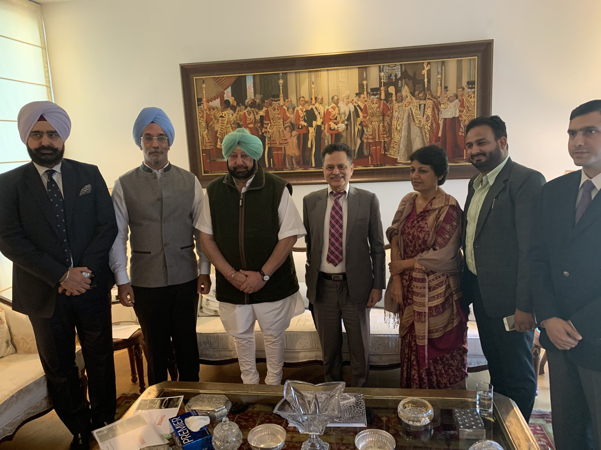 Punjab Chief Minister Captain Amarinder Singh with Singapore-based company Think Gas Investments Pte Limited CEO Hardeep Singh Rai for setting up of Natural Gas Infrastructure in the State at Chandigarh. Many officers of Punjab government are also present in the photograph. Photo courtesy: Twitter@RT_MediaAdvPbCM