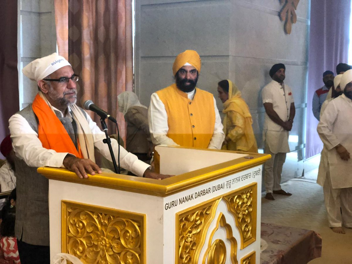 Navdeep Suri, India's Ambassador to UAE, addressing  congregation of over 5000 devotees at Guru Nanak Darbar in Dubai on the occasion of Guru Nanak Jayanti. Photo courtesy: Twitter@/NavdeepSuri