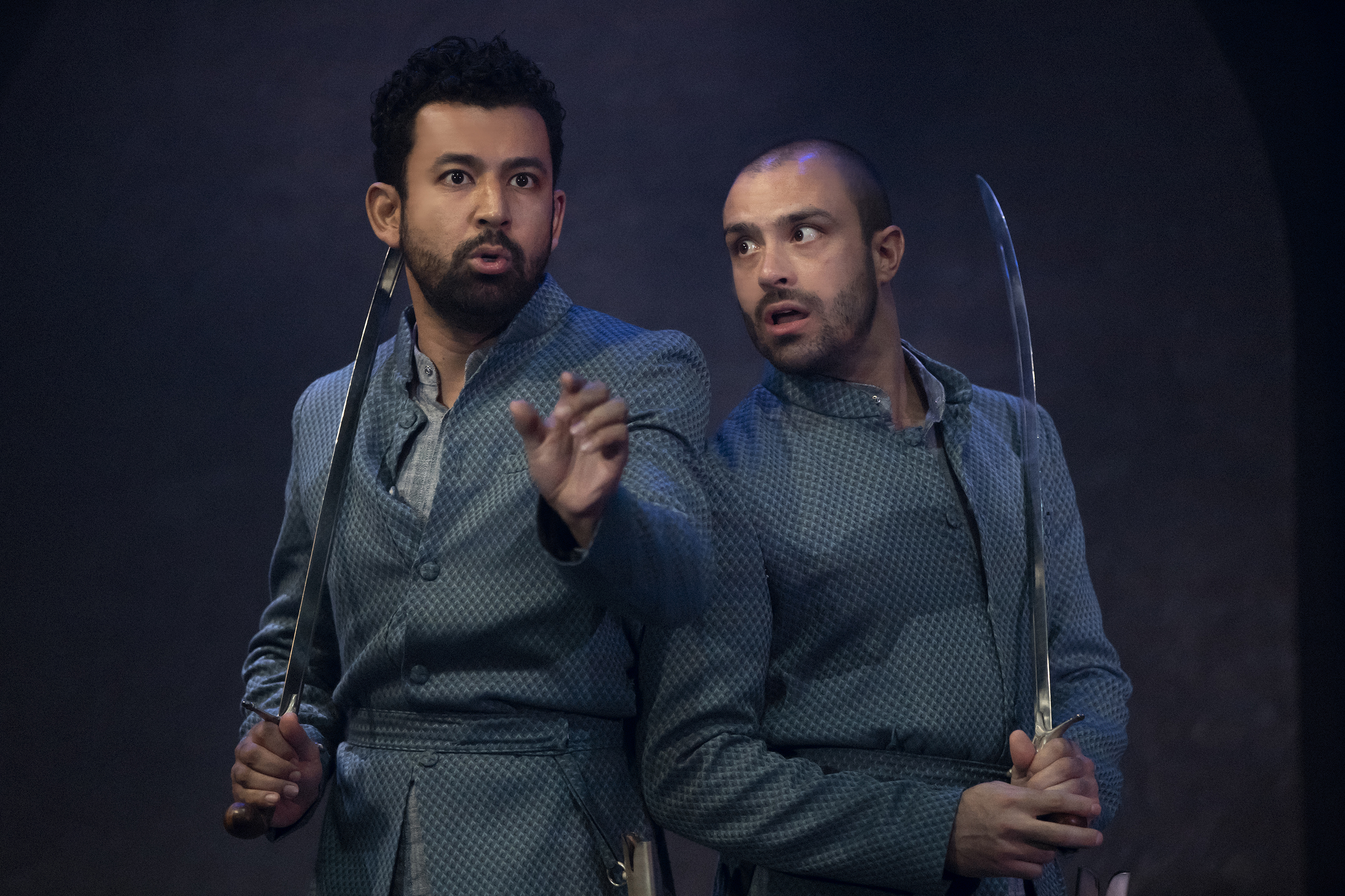 Ghafir Akbar plays the character of Humayun while Jay Saighal essays the role of Babar in the play 'Guards at the Taj'. Photo courtesy: Singapore Repertory Theatre