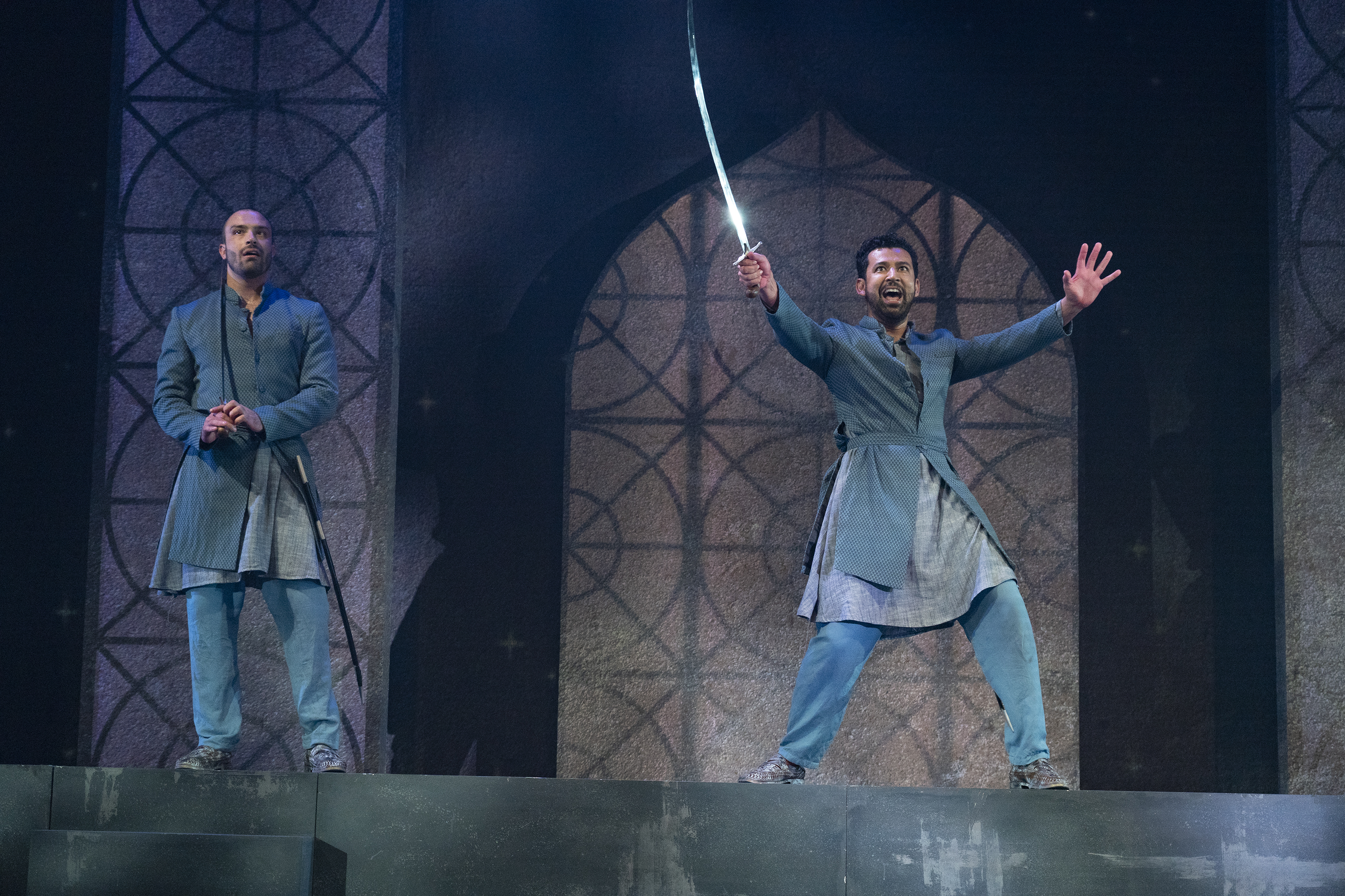 The play 'Guards at the Taj' unfolds through the viewpoint of two guards who stand sentinel outside the Taj Mahal before it is unveiled. Photo courtesy: Singapore Repertory Theatre