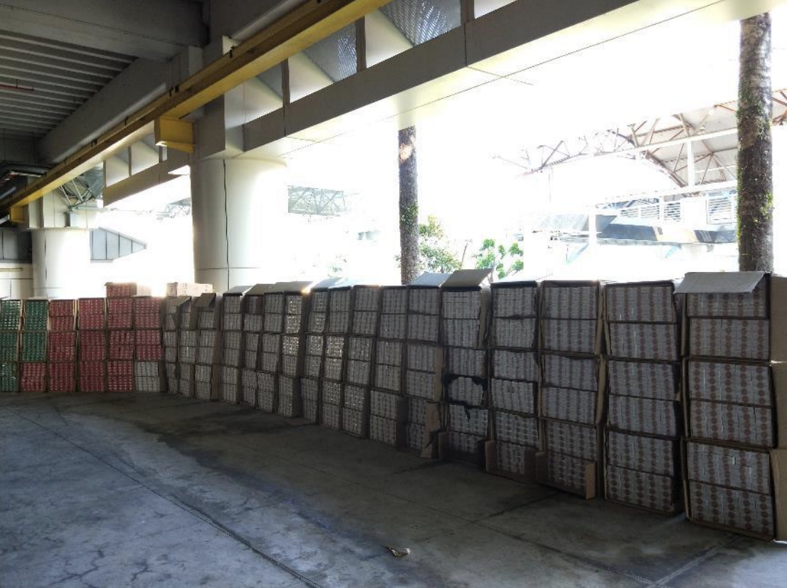 A total of 7,500 cartons of duty-unpaid cigarettes were seized. Photo courtesy: ICA