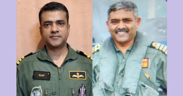 Indian Navy Commander (Pilot) Vijay Varma (left) and Captain (Pilot) P. RajKumar have been chosen for the Straits Times Asian of the Year 2018 award for their death-defying rescue operations in Kerala floods. Photo courtesy: Twitter@indiannavy