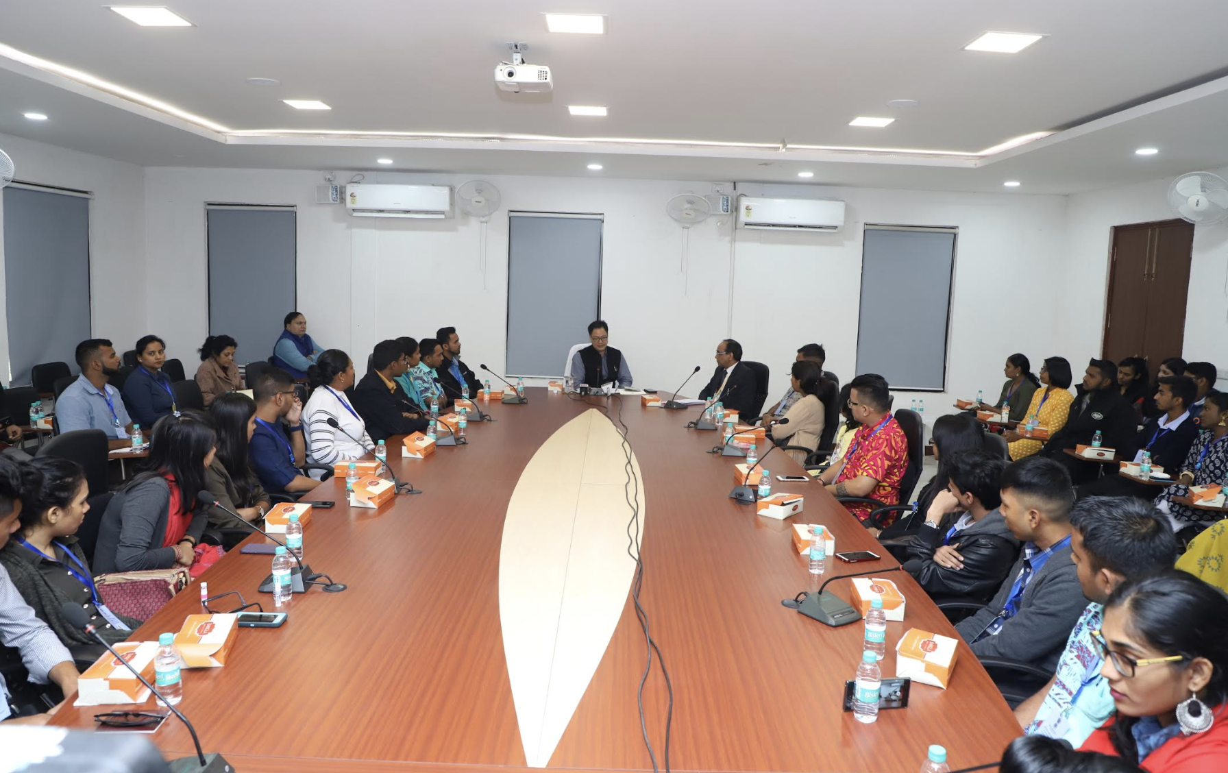 Indian Minister of State for Home Affairs Kiren Rijiju interacting with the participants of Know India Programme from eight countries, being organised by MEA in partnership with Andhra Pradesh Government, in New Delhi on Saturday, December 8, 2018. Photo courtesy: Indian Ministry of Home Affairs