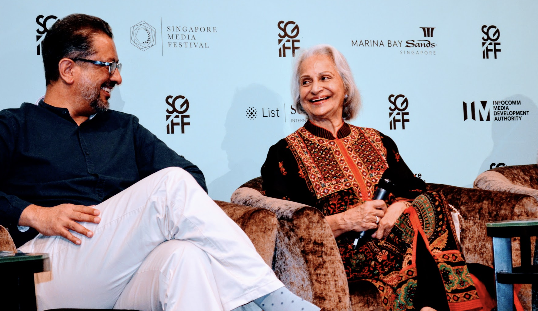 Waheeda Rehman with Anup Singh at the Singapore International Film Festival (SGIFF) Photo: Connected to India