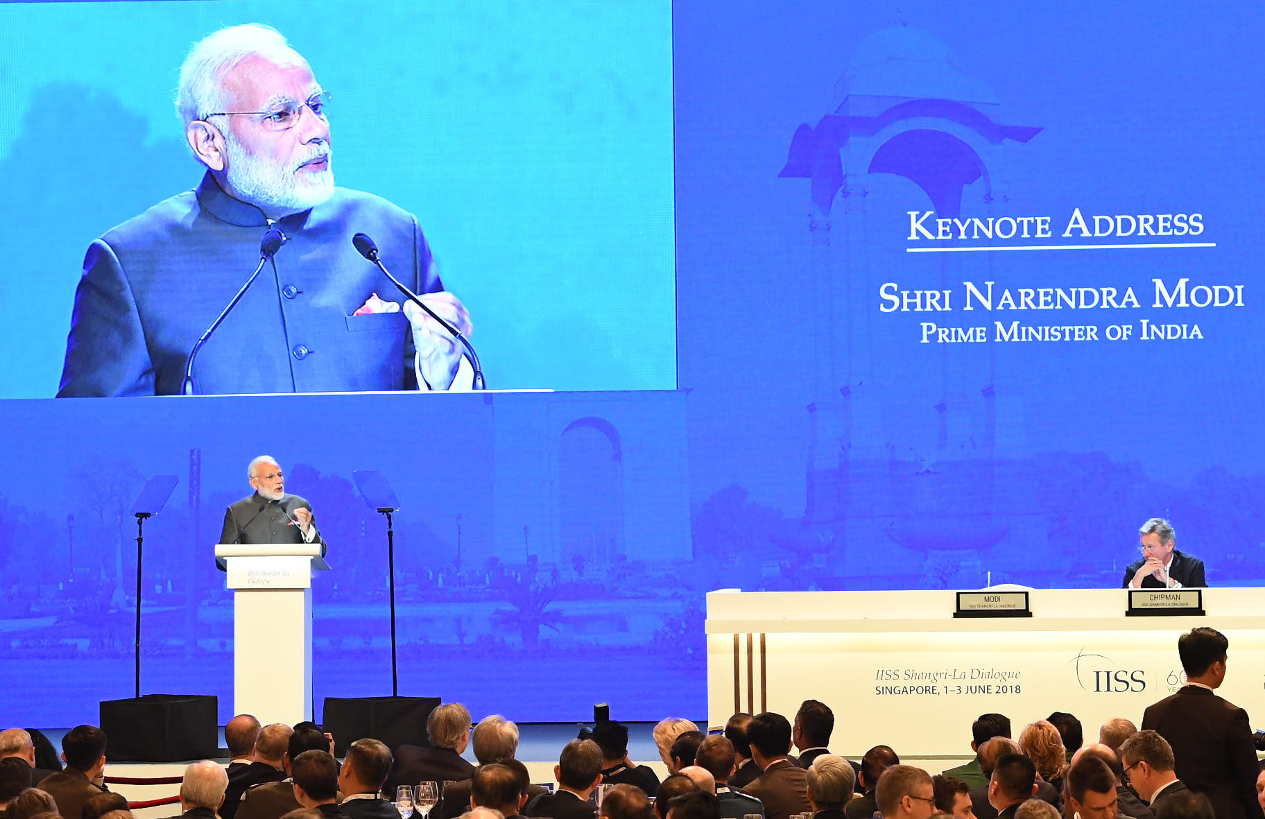 Prime Minister Narendra Modi delivering the Keynote Address at Shangri La Dialogue, in Singapore on June 01, 2018. (Photo courtesy: PMO)