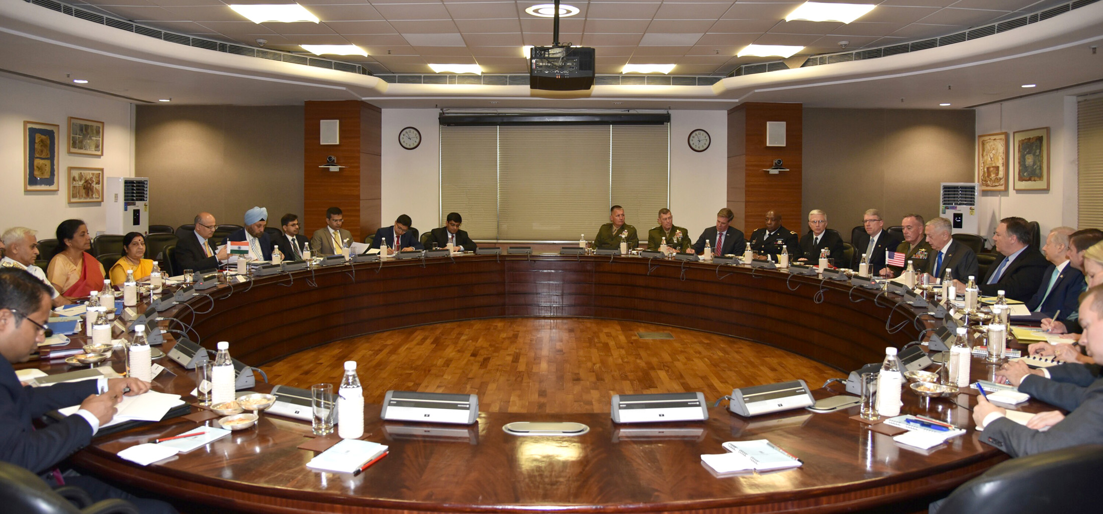 Indian Minister for Defence Nirmala Sitharaman, Minister for External Affairs Sushma Swaraj along with the US Secretary of Defence James Mattis and the US Secretary of State Michael R. Pompeo at the '2+2 Bilateral Dialogue' between the two countries, in New Delhi on September 06, 2018 (Photo courtesy: Ministry of Defence