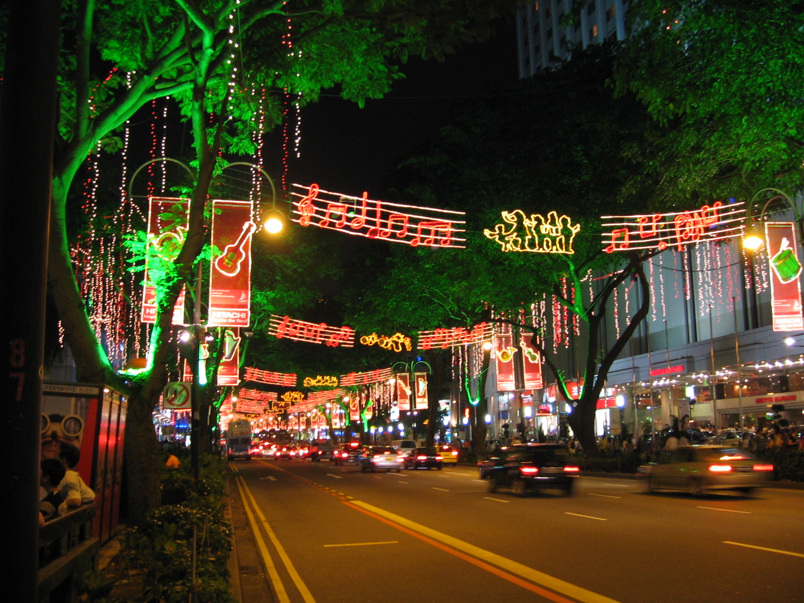Orchard Road in Singapore is lit up elaborately near the end of every year for the Christmas season. Photo courtesy: Wikipedia