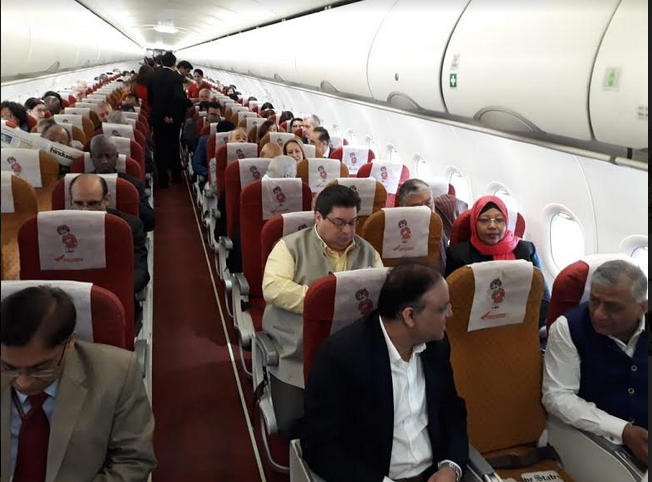 Delegation comprising 71 envoys from different countries en route Prayagraj with Minister of State for External Affairs Gen.(Retd) V K Singh in a special flight Photo courtesy: MEA