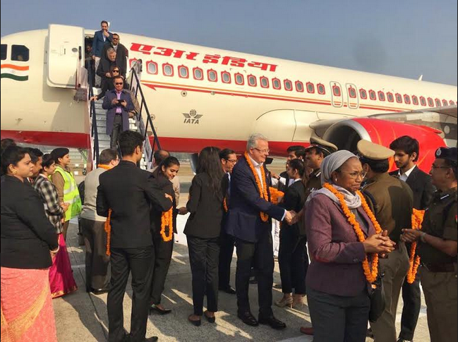 Mission heads arrive in Prayagraj by a special flight. Photo courtesy: MEA