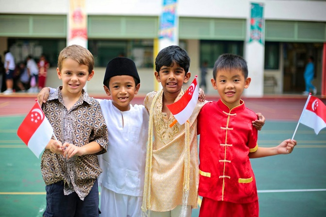 Children celebrating Racial Harmony Day in Singapore. Photo courtesy: Wikimedia