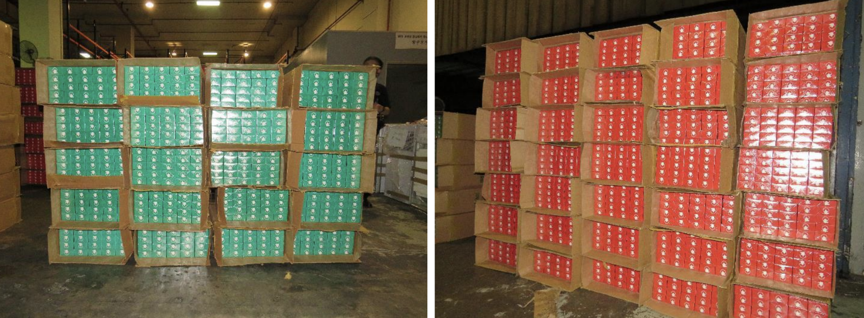 Duty-unpaid cigarettes uncovered from the Singapore-registered lorry. Photo courtesy: ICA