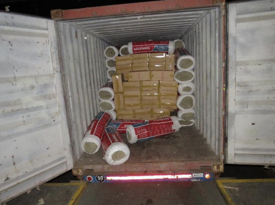 "The container where duty-unpaid cigarettes were found within the consignment declared as ""rockwool insulations"". Photo courtesy: ICA"