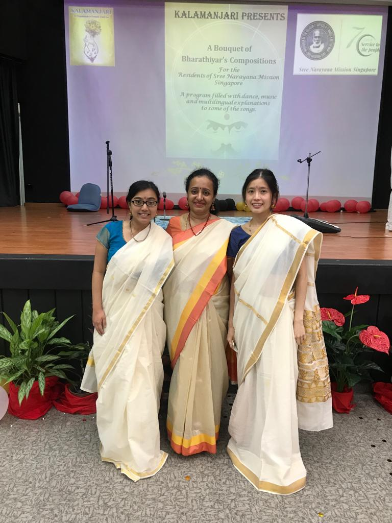 Soundara Nayaki Vairavan (middle) along with Ms Shanice and Stephanie Teo during Kalamanjari's programme on 'Barathiyar' at Sree Narayana Mission in Singapore. Photo courtesy: Soundara Nayaki Vairavan