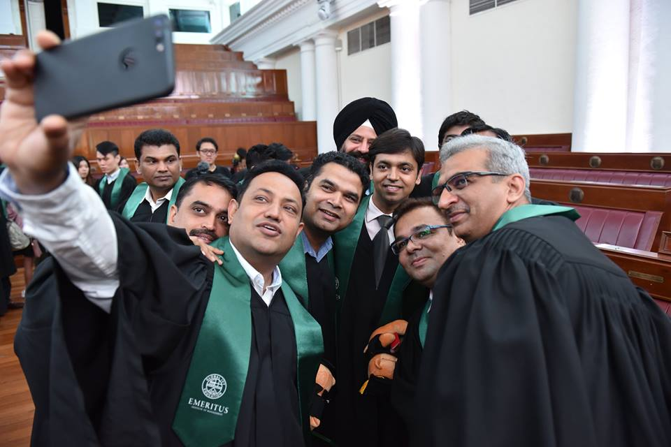 Students completing Postgraduate Diploma in Management from Emeritus Institute of Management taking selfie. Photo courtesy: Facebook page of Emeritus Institute of Management