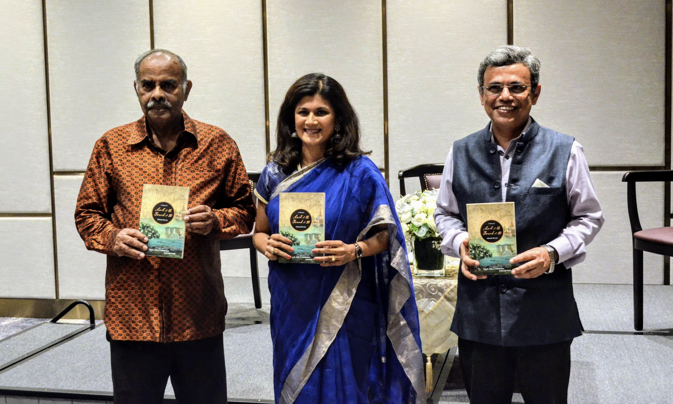Ashwini Devare author of Lost at 15, Found at 50 flanked by  High Commissioner of India to Singapore, Jawed Ashraf to her left and ex-diplomat Ambassador Krishnasamy Kesavapany Photo: Connected to India