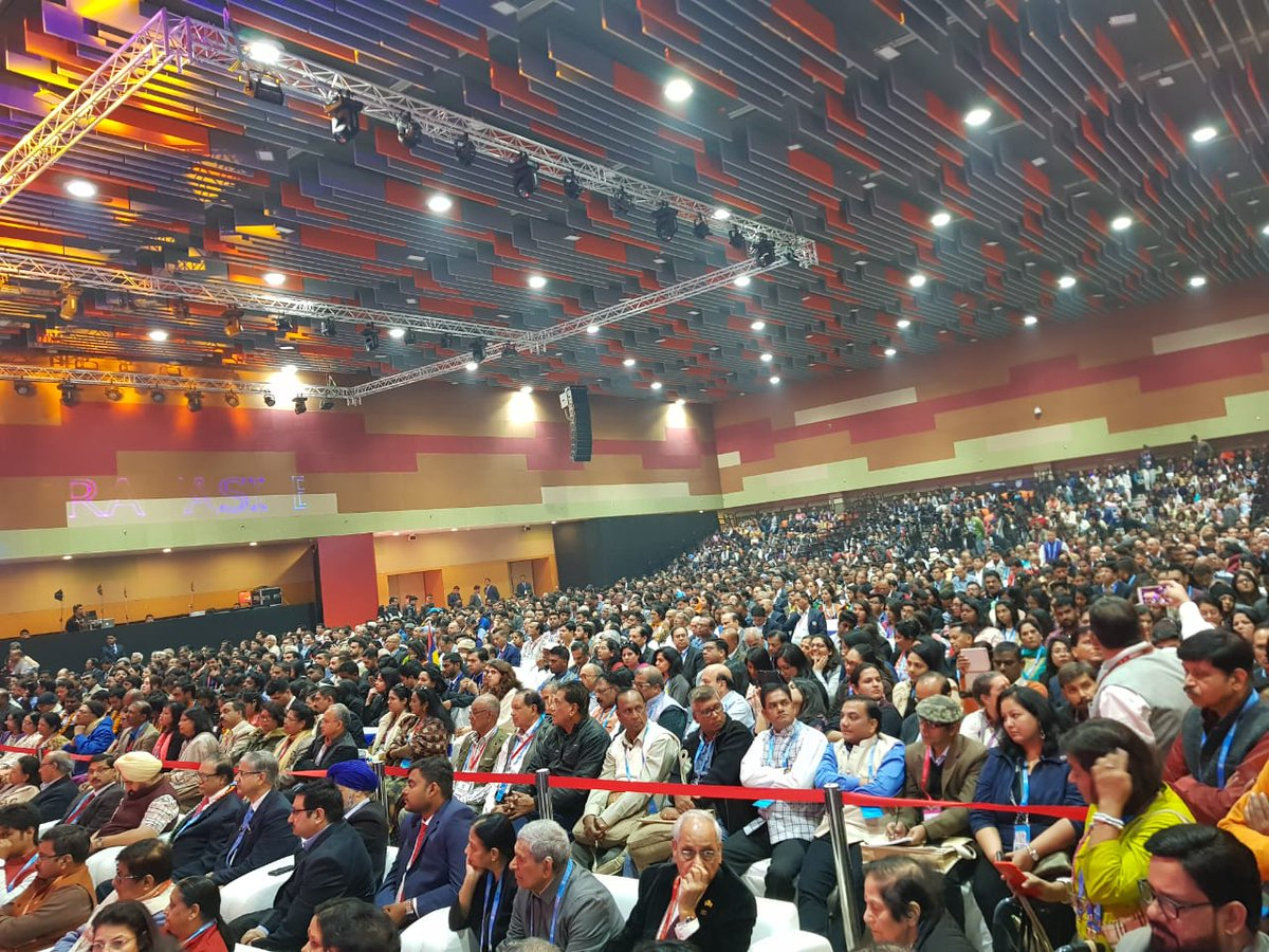 Indian diaspora at PBD 2019 waiting to listen to Minister of External Affairs Sushma Swaraj.  Photo courtesy: MEA