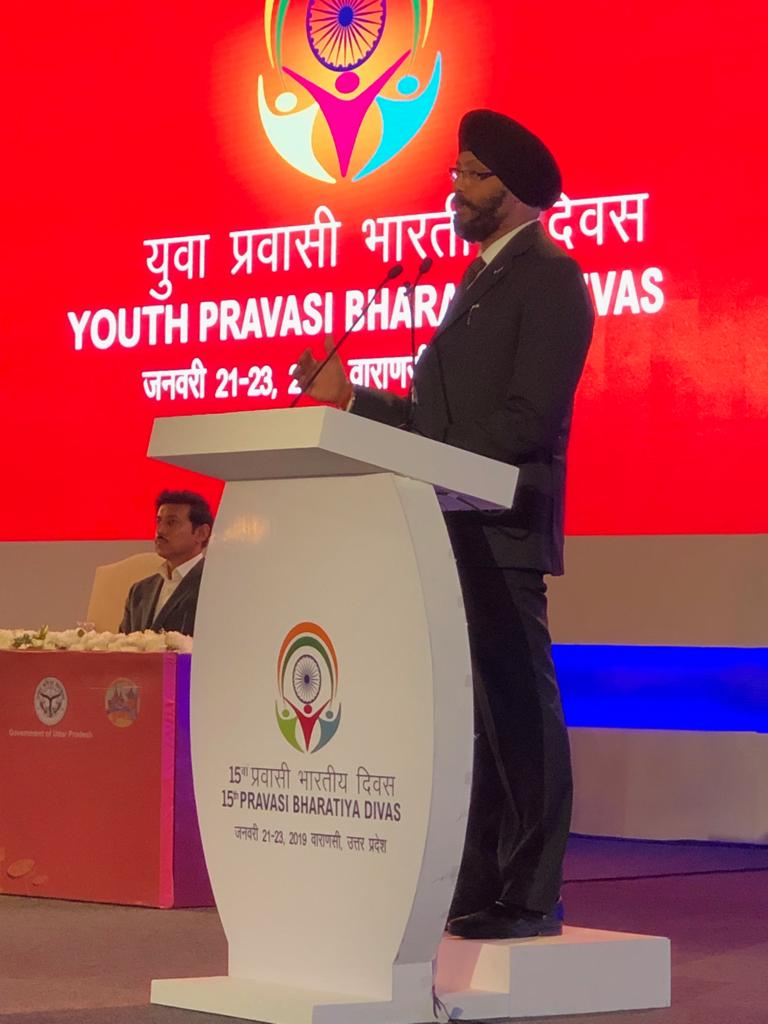 Guest of Honour Kanwaljit Singh Bakshi Member of Parliament from New Zealand addressing Indian diaspora at PBD 2019 in Varanasi.  PBD Convention