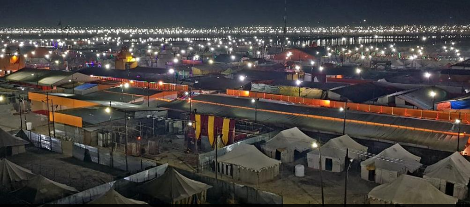 The tent city is spread over an area of 100 hectares and built by six companies. Photo courtesy: kumbh.gov.in