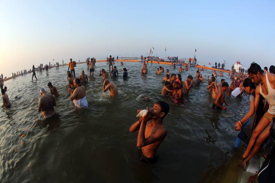 There is feeling of religious ecstasy as people take holy dip in Sangam, confluence of rivers Ganga, Yamuna and mythical Saraswati at Prayagraj. Photo courtesy: kumbh.gov.in