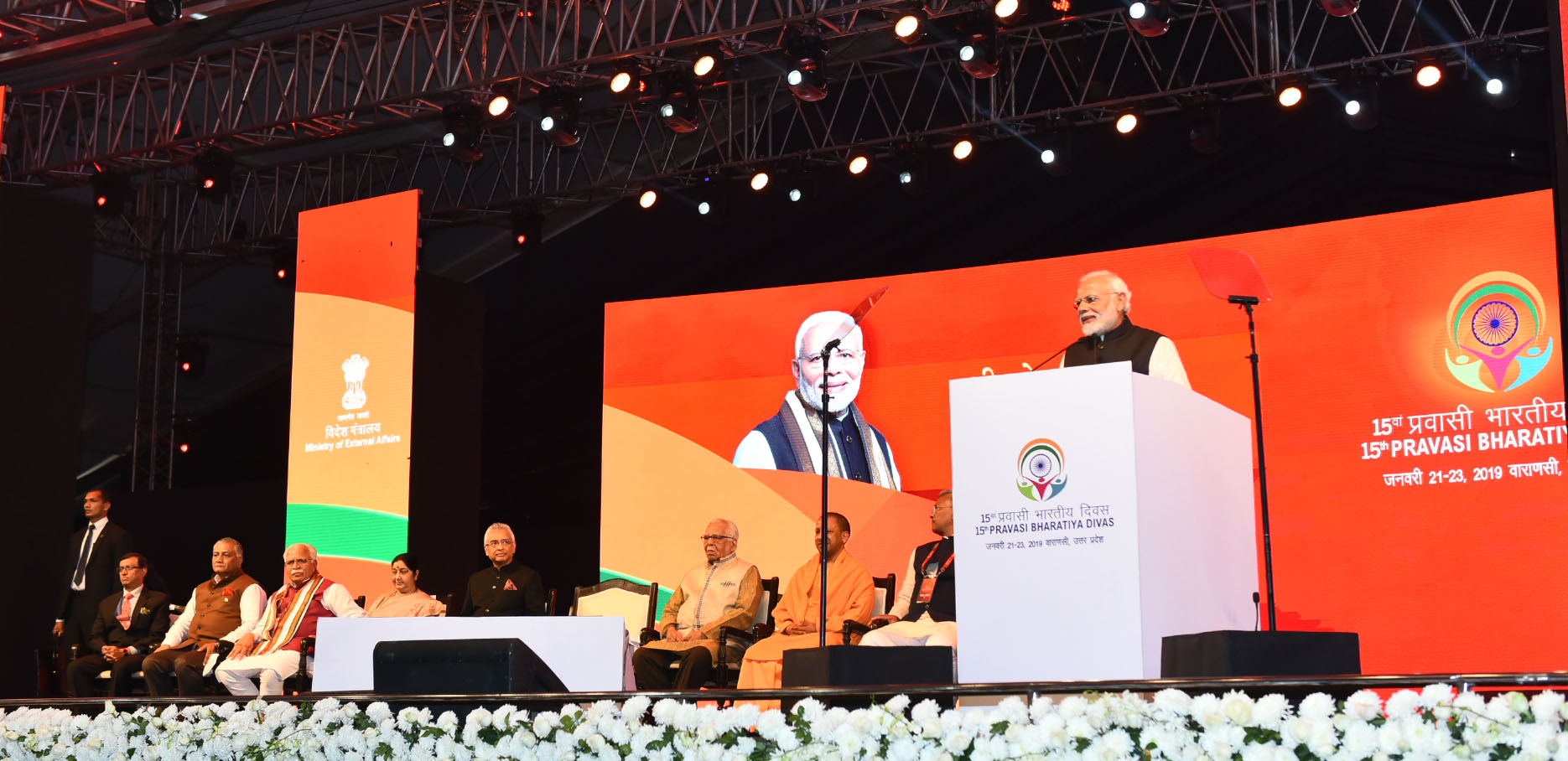 Prime Minister Narendra Modi addressing at the inauguration of the 15th Pravasi Bharatiya Divas convention 2019, in Varanasi, Uttar Pradesh on 22 January 2019. Photo courtesy: PMO