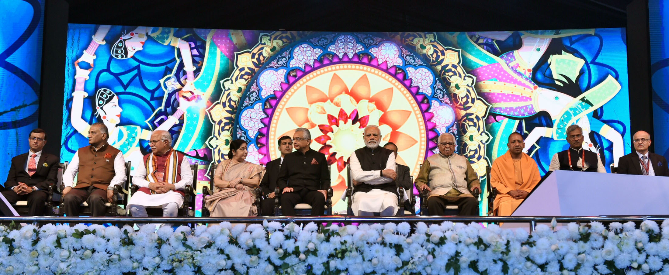 Prime Minister Narendra Modi and Prime Minister of Mauritius Pravind Jugnauth at the inauguration of the 15th Pravasi Bharatiya Divas convention 2019, in Varanasi. Governor of Uttar Pradesh Ram Naik, Minister for External Affairs Sushma Swaraj, Chief Minister of Uttar Pradesh Yogi Adityanath, Chief Minister of Haryana Manohar Lal Khattar, Chief Minister of Uttarakhand Trivendra Singh Rawat, Minister of State for External Affairs V.K. Singh and other dignitaries are also seen. Photo courtesy: PIB