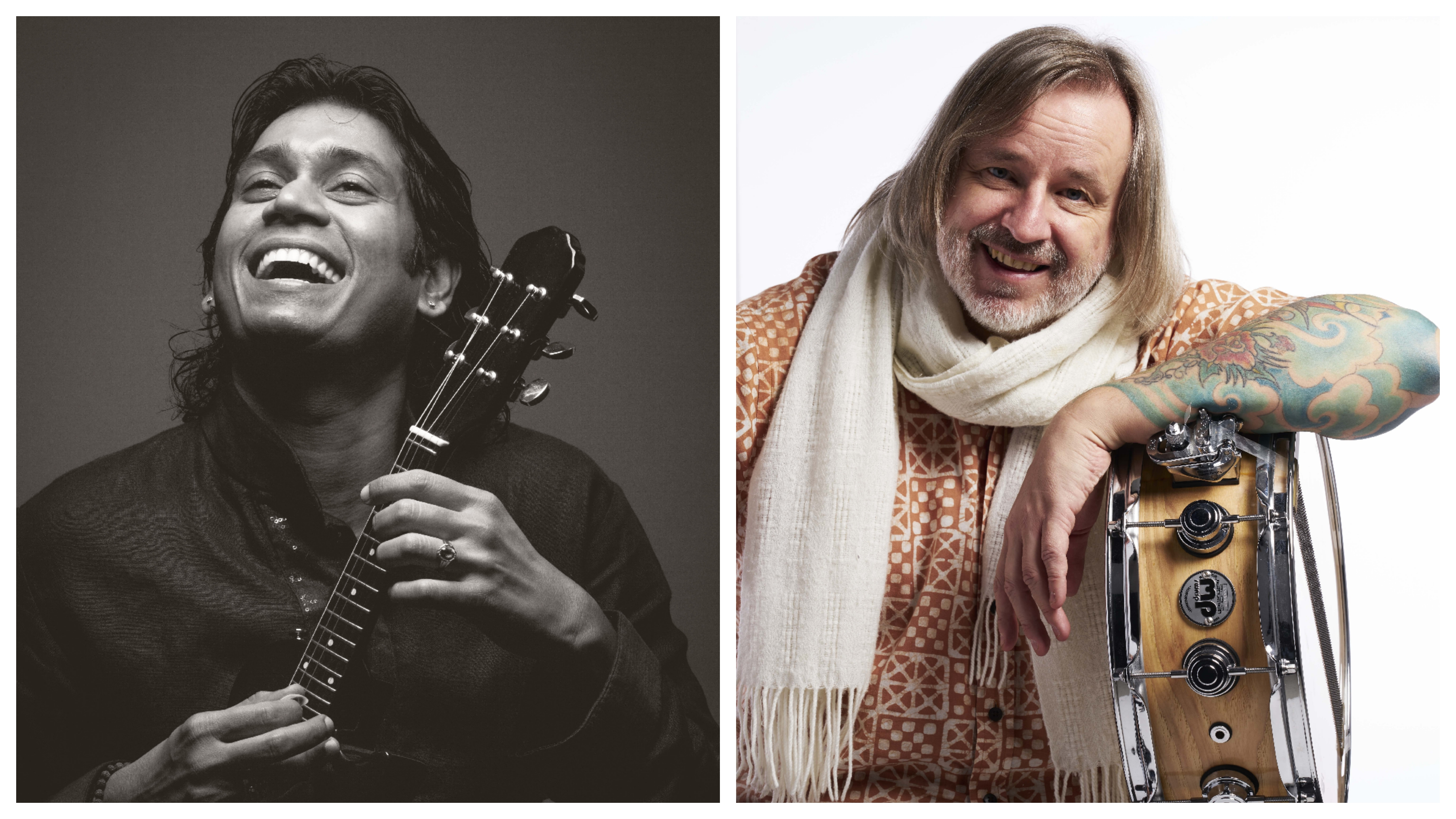 Uppalapu Rajesh (left) is the younger brother of late U Shrinivas. Pete Lockett (right) is versatile in Carnatic, Jazz and World music.  is well-versed in percussion traditions from music cultures around the world from traditional Japanese taiko drumming, to blues, funk, rock and classical.Photo courtesy: Arte Compass