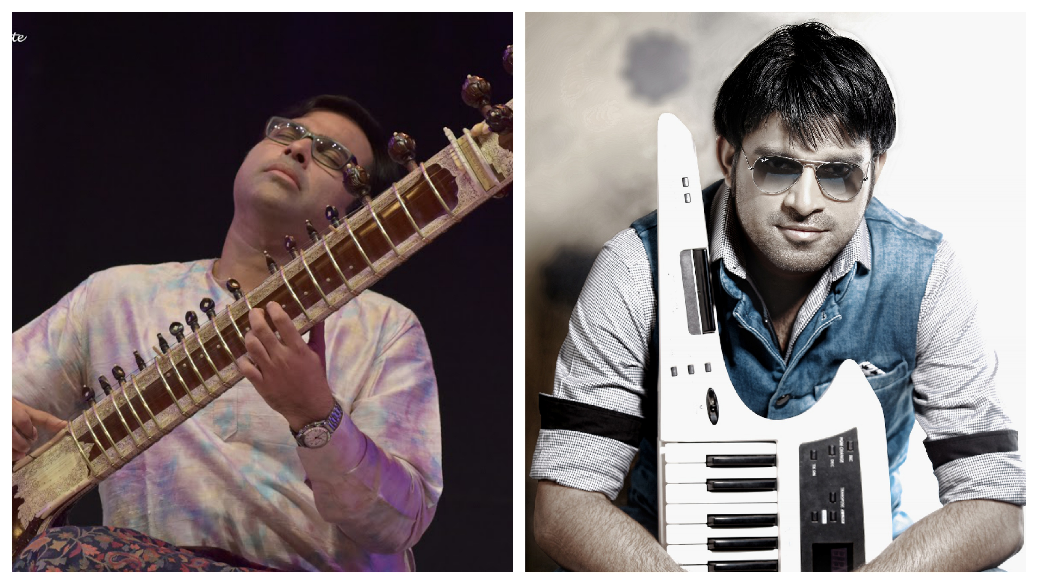 Purbayan Chaterjee's (left) music is noted for his eclectic mix of traditional Indian classical music with contemporary world music genres. Stephen Devassy  is an Indian keyboardist and a music director. He is a power house performer who is fondly called as the 'Flying Fingers'. Photo courtesy: Arte Compass