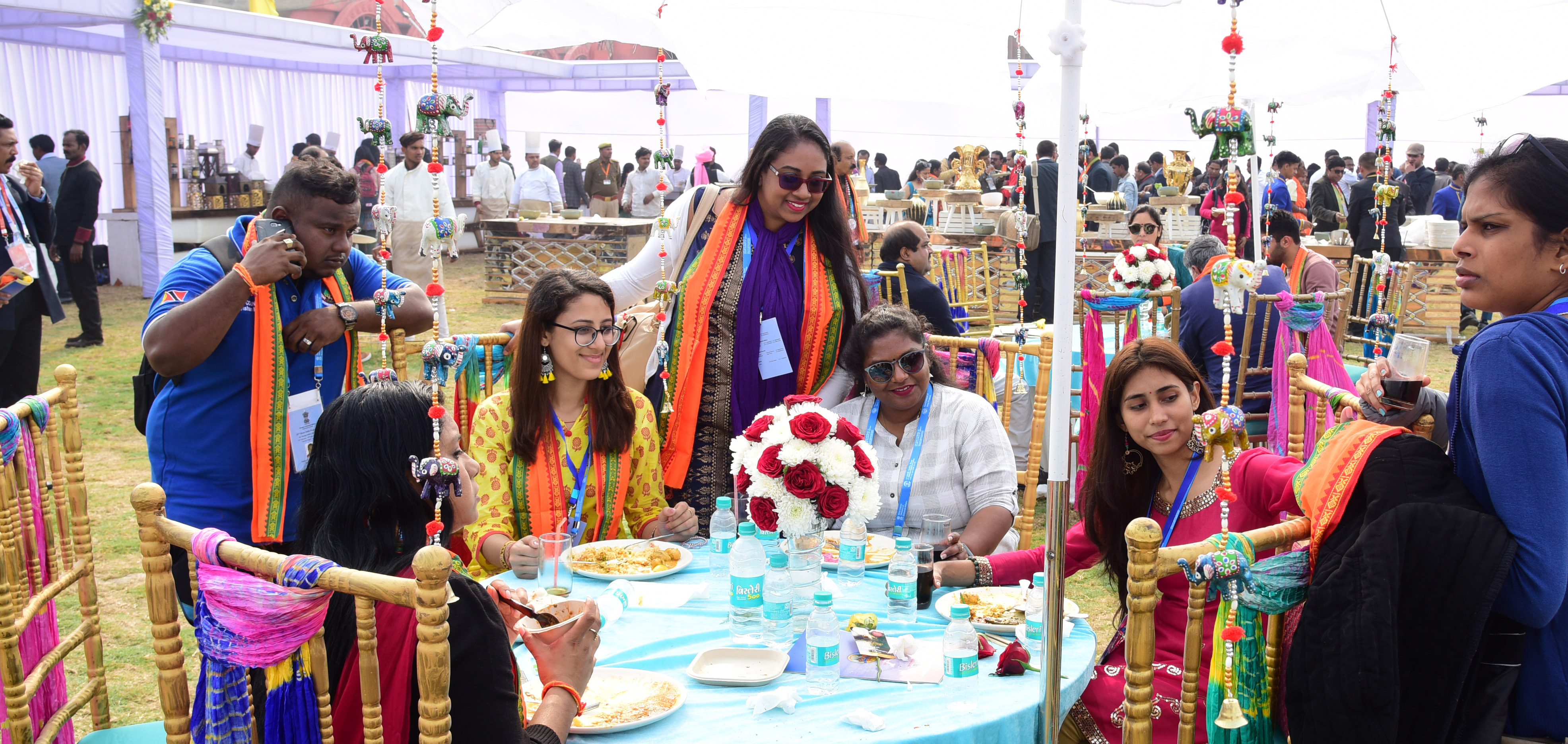 PBD delegates enjoying Indian hospitality at the sprawling Indraprastham Tent City in the Kumbh Mela area as they reached Prayagraj from Varanasi. Photo: Connected to India