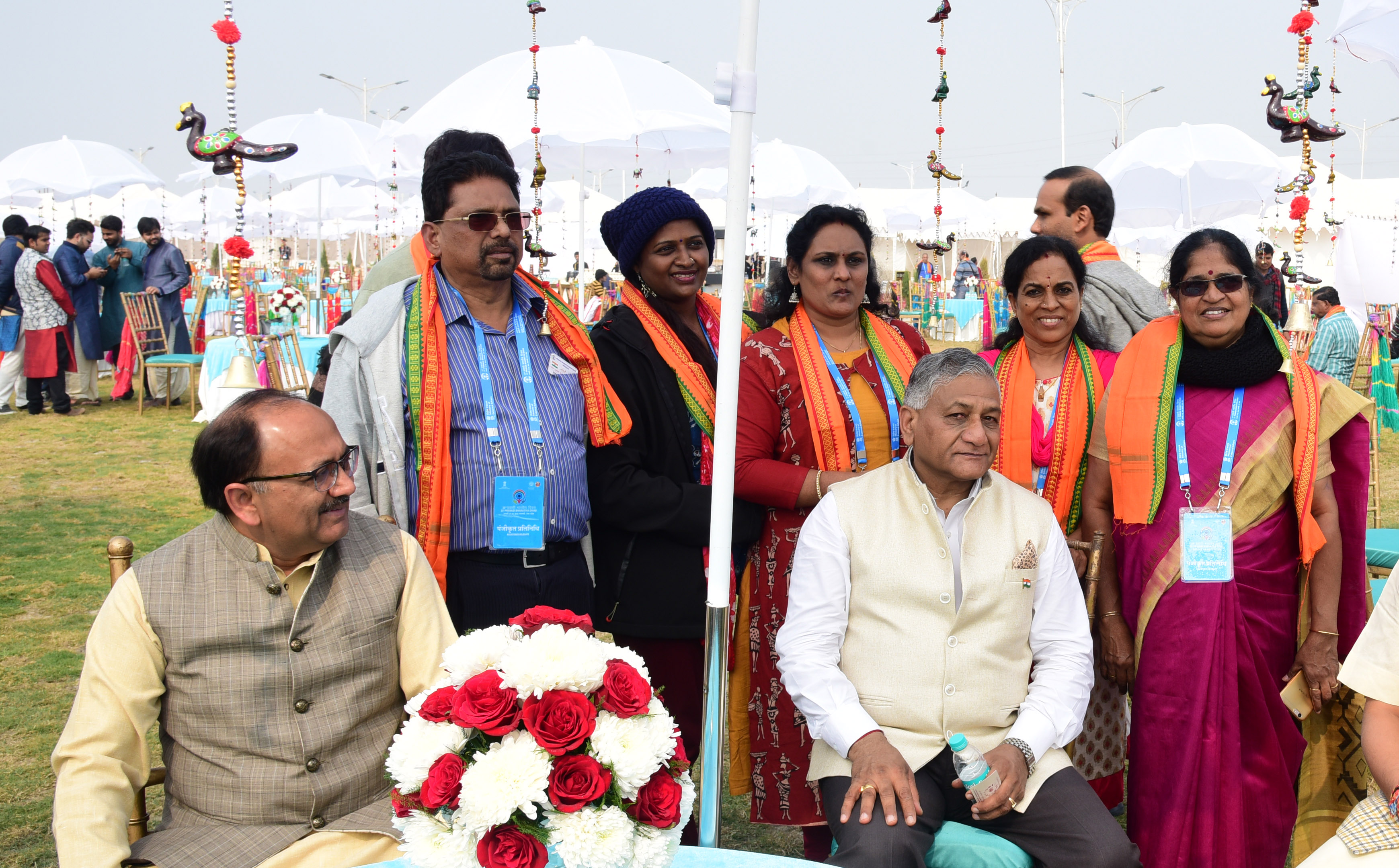 VK Singh, Indian Minister of State for External Affairs and Siddharta Nath Singh, Health Minister of Uttar Pradesh along with the PBD delegates. Photo: Connected to India
