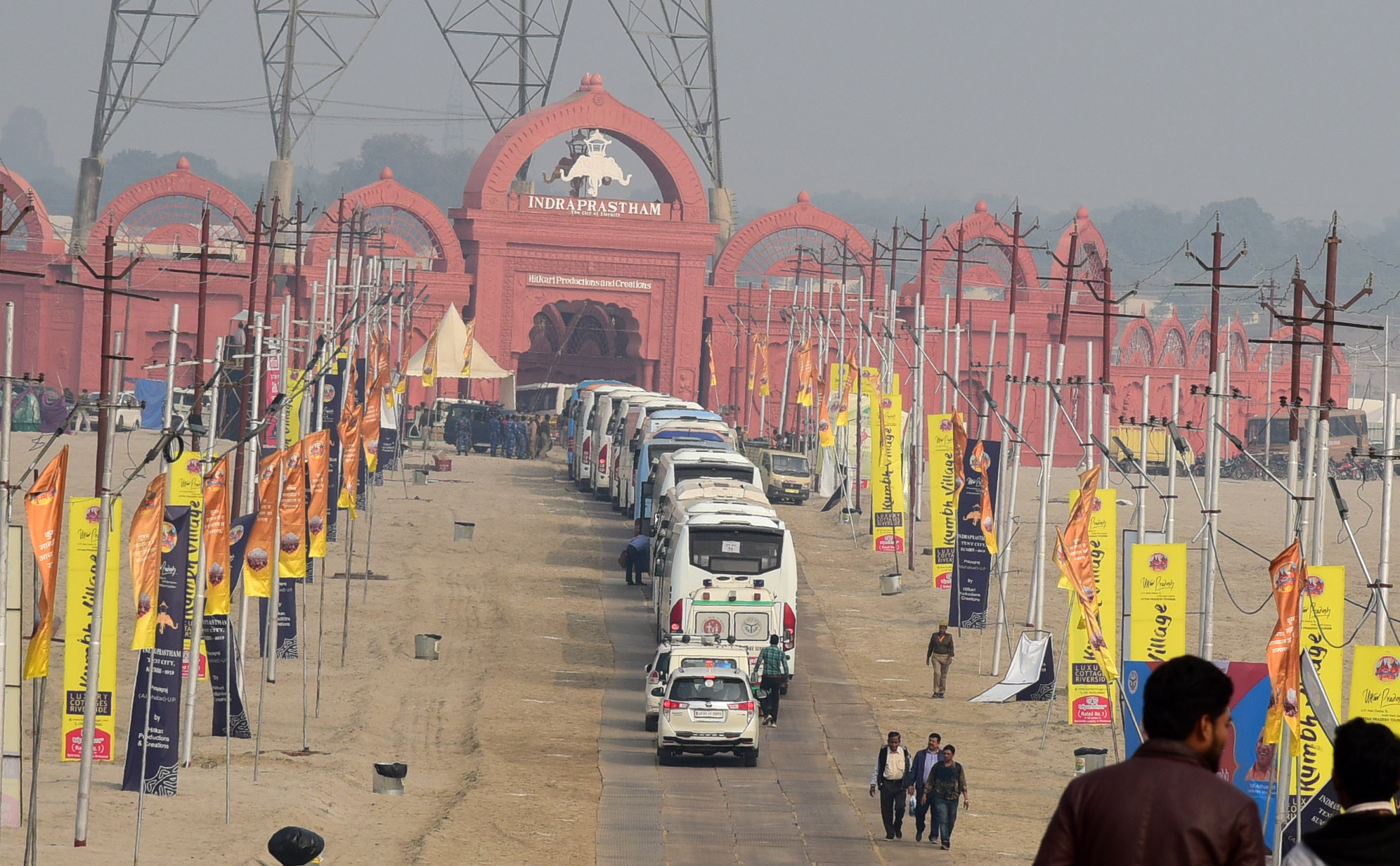 Convoy of vehicles carrying PBD delegates entering Indraprastham in the Kumbh Mela area in Prayagraj. Photo: Connected to India