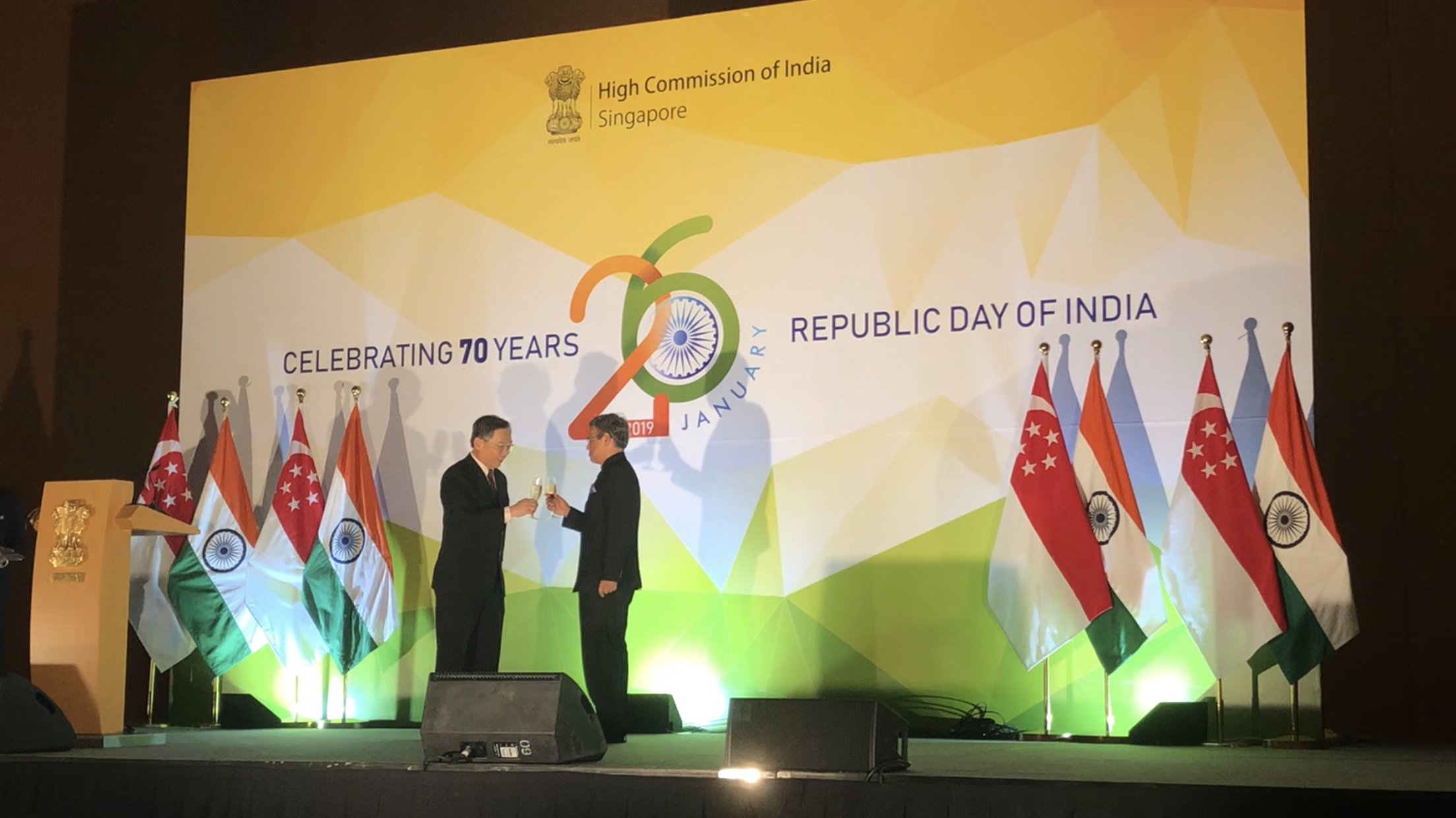 High Commissioner of India, Singapore, Mr Jawed Ashraf, sharing a toast with Mr Gam Kim Yong, Minister For Health, at the Republic Day reception on January 25. Photo: Connected to India