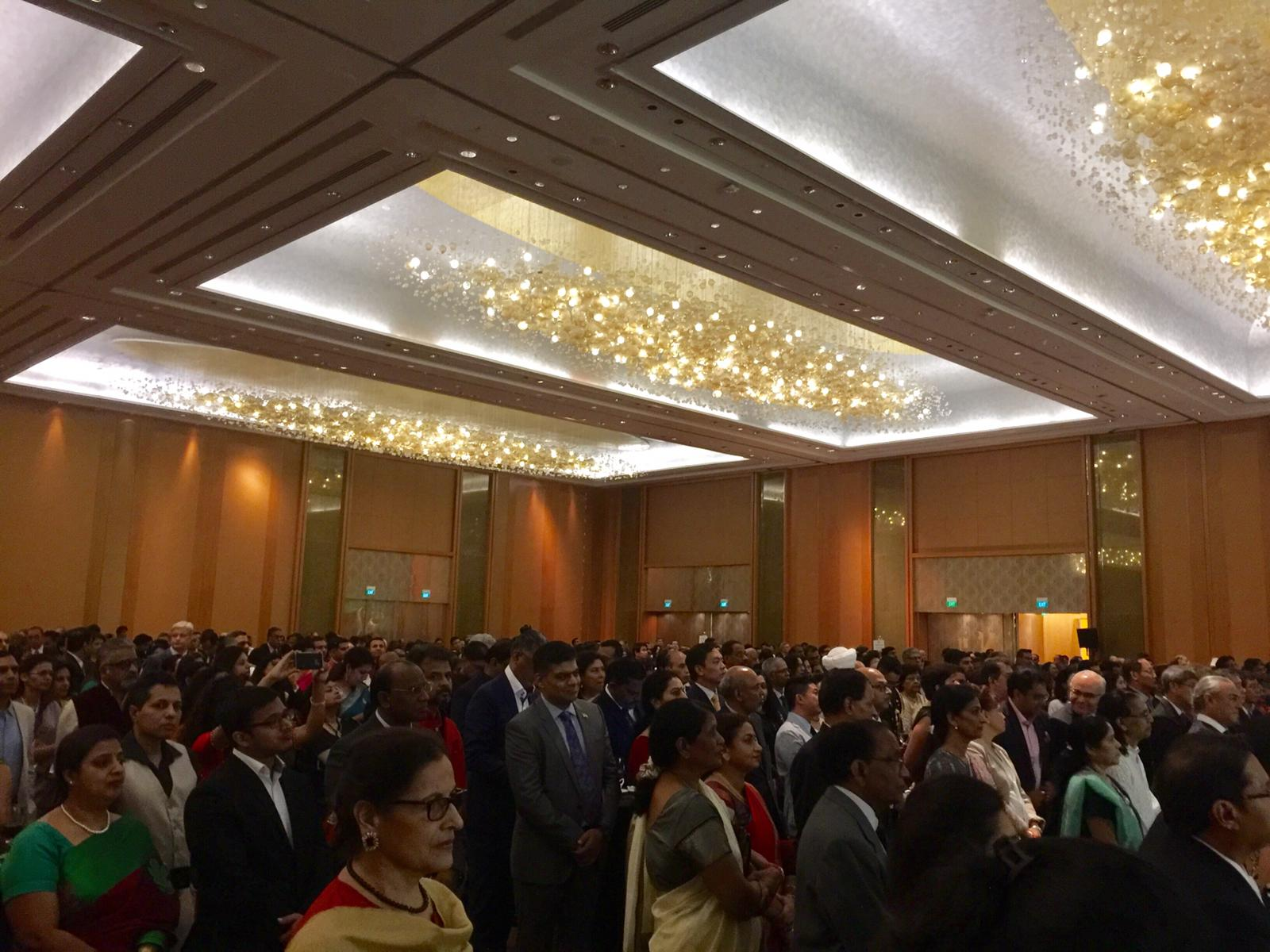 Members of Indian diaspora at the grand celebrations of India's 70th Republic Day at the Marina Bay Sands hotel Photo: Connected to India