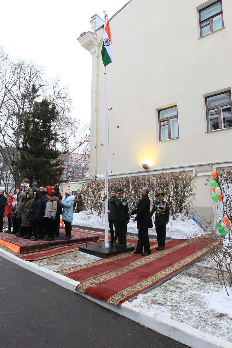 Venkatesh Varma, Indian Ambassador to Russia, unfurled the national flag at the Indian Embassy in Moscow. Photo courtesy: Twitter@IndEmbMoscow