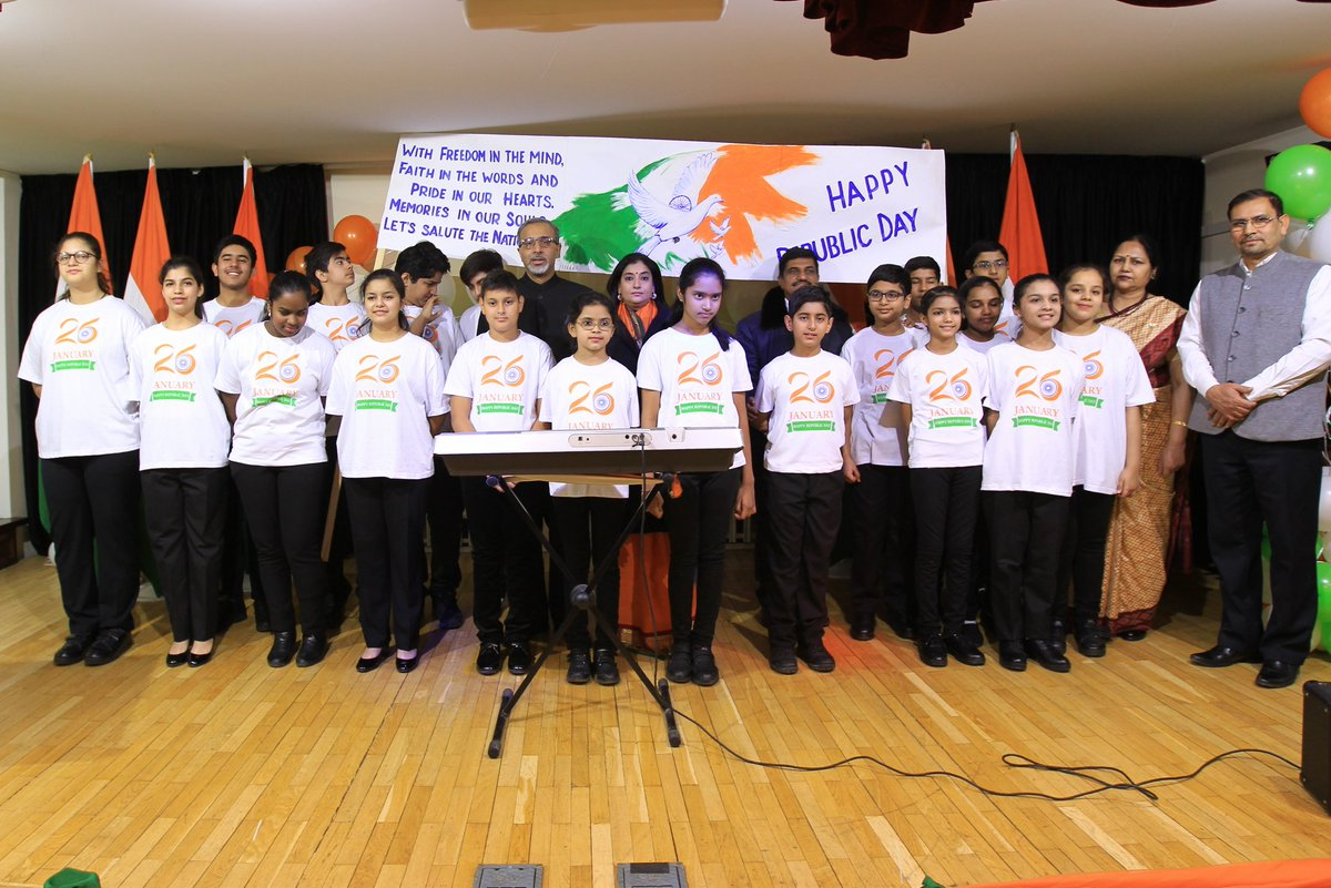Children from the Embassy of India School presenting a cultural programme in Moscow on the occasion of Indian Republic Day. Photo courtesy: Twitter@IndEmbMoscow