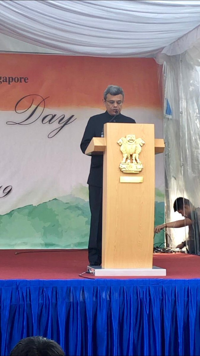 HE Jawed Ashraf, Indian High Commissioner to Singapore addressing people on the occasion of Indian Republic Day. Twitter@IndiaiSingapor