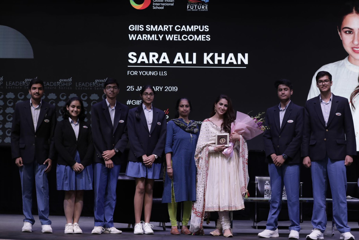 Sara Ali Khan who made her Bollywood debut with Hindi film Kedarnath followed by Simmba in quick succession was in Singapore recently. Seen here engaging with students of Global Indian International School (GIIS) Photo: GIIS