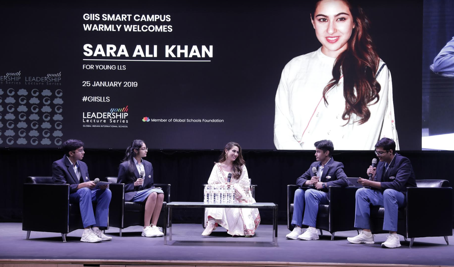 Sara Ali Khan answering questions posed to her by student reps of Global Indian International School (GIIS) Photo courtsey: GIIS