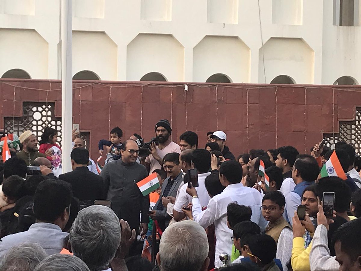 Vipul, Consul General of India in Dubai, hoisted the tricolour in Dubai. Photo courtesy: Twitter@cgidubai