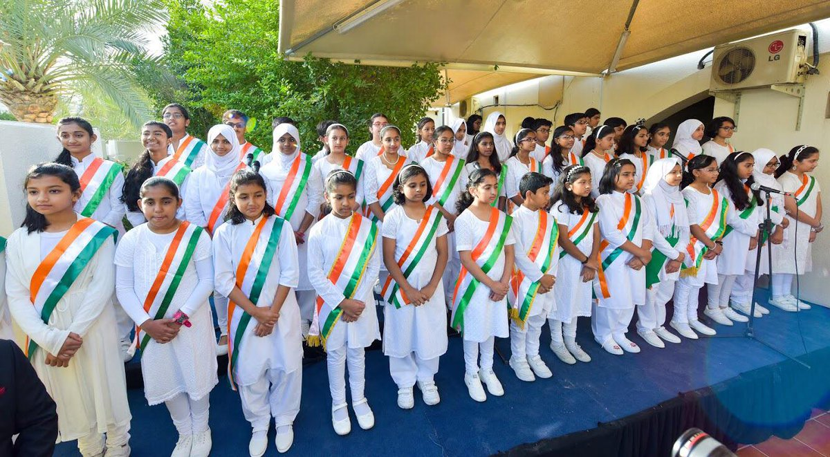 Students of Indian Schools presenting patriotic songs on the occasion of Republic Day in Doha. Photo courtesy: Twitter@IndEmbDoha
