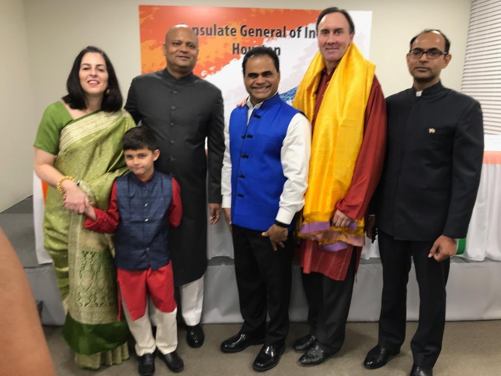 Members of the US House of Representatives, Pete Olson and Ford Benty County Judge, KP George were among those who attended the Republic Day programme at the Consulate General of India in Houston. Photo courtesy: Twitter@cgihou