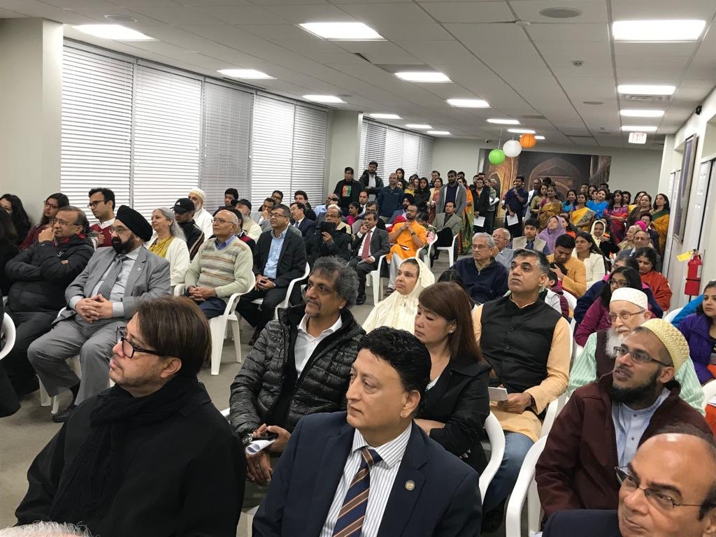 Members of Indian diaspora attending the Republic Day programme at Houston. Photo courtesy: Twitter@cgihou