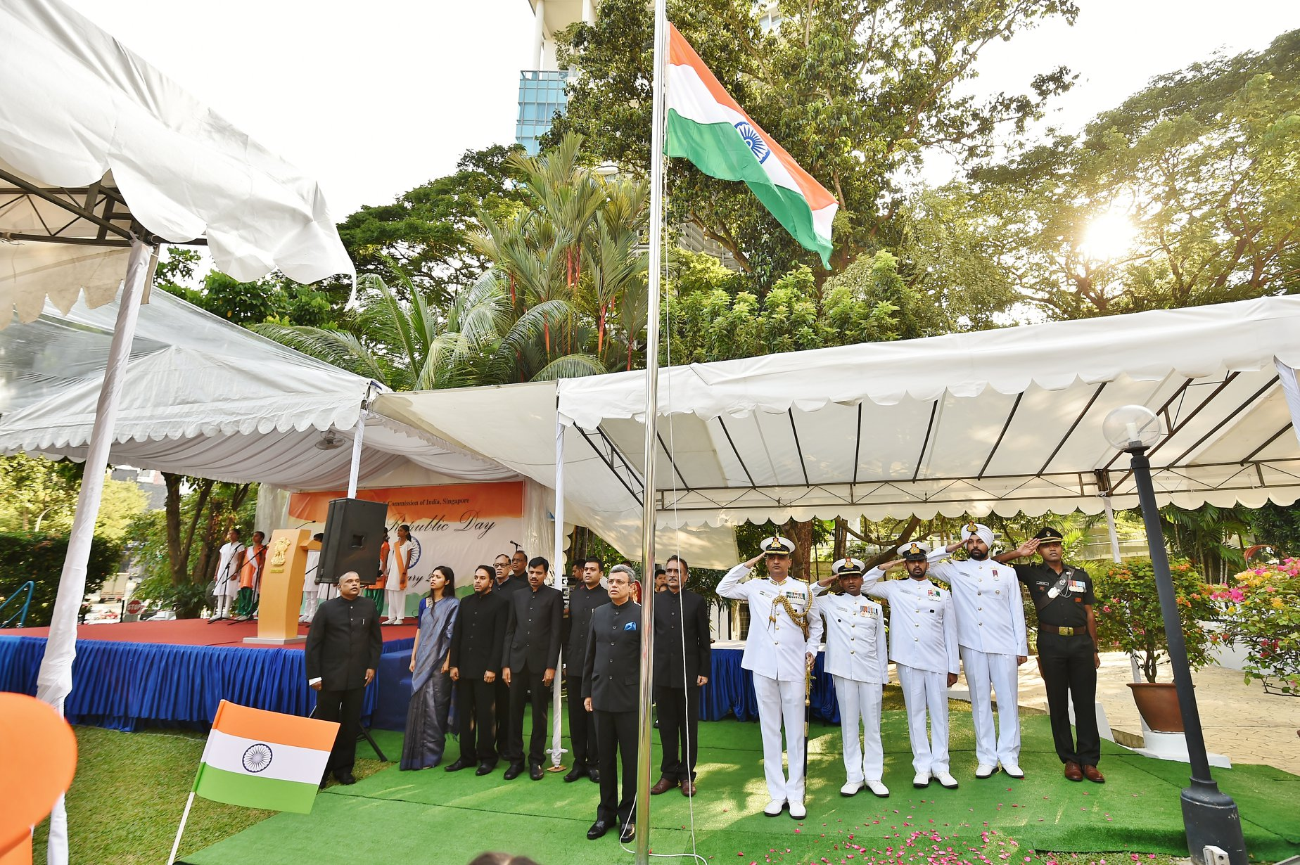 Republic Day flag hoisting on the grounds of High Commission of India on Republic Day. Photo courtesy: High Commission of India Singapore